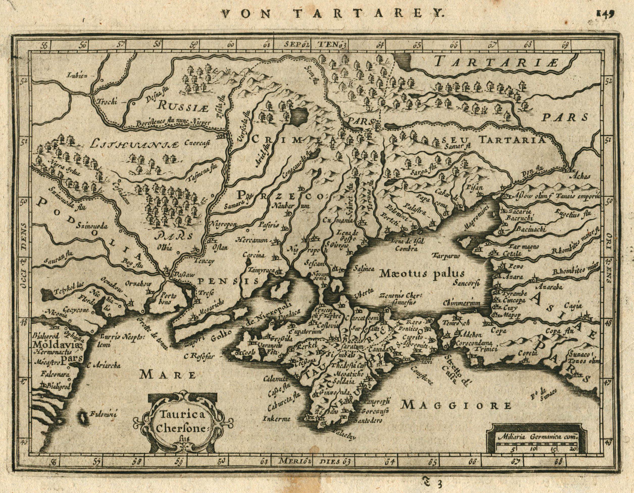 Kst.- Karte, b. Janssonius aus Atlas Minor,: Ukraine: