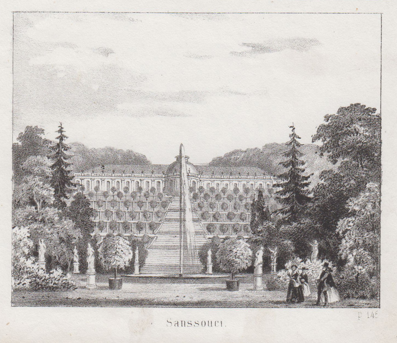 Ansicht mit den Terrassen und der Fontaine,: Potsdam - Schloss