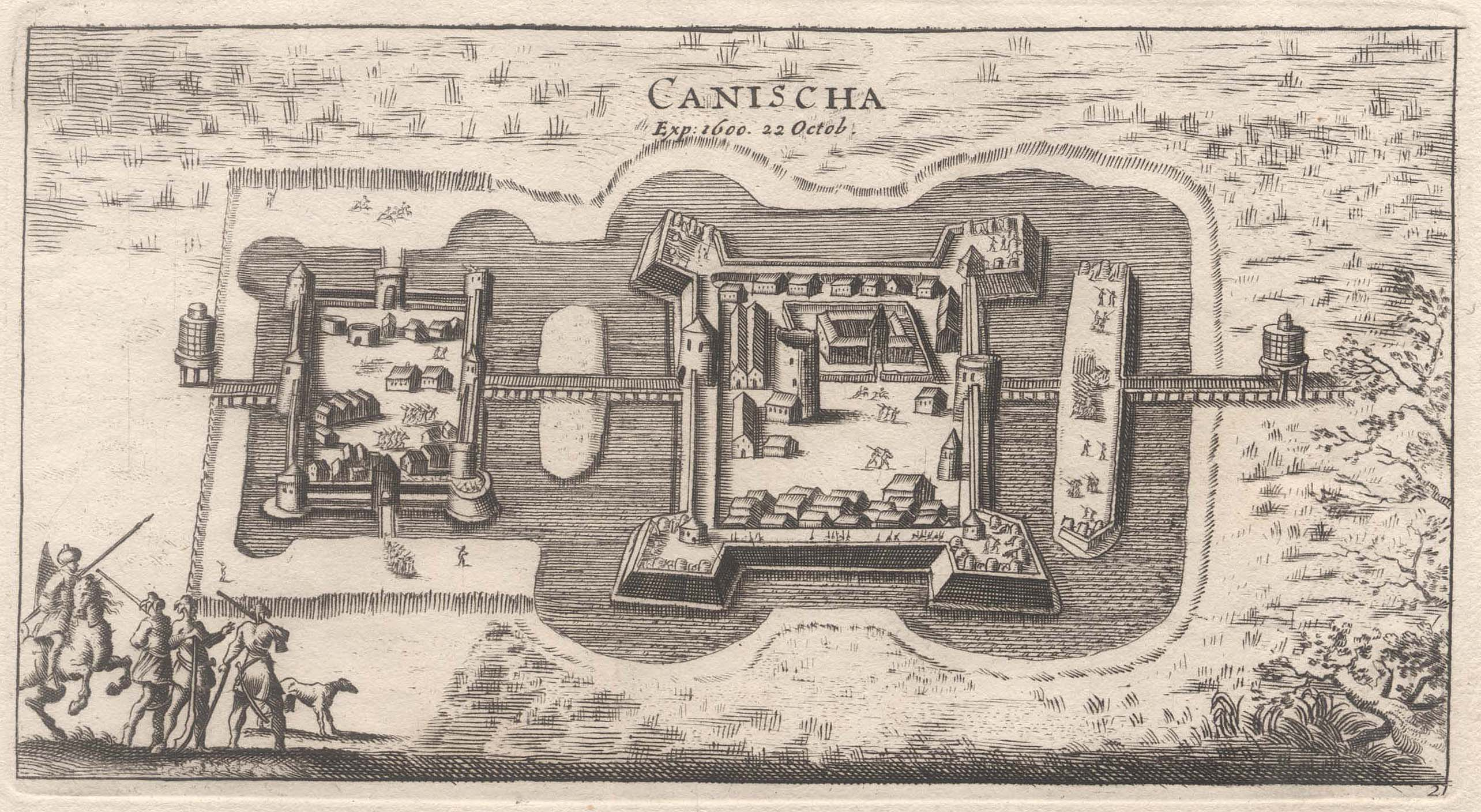 "Gesamtans., aus der Vogelschau, ""Canischa. exp. 1600.: Nagykaniza ( Kanizsa,"