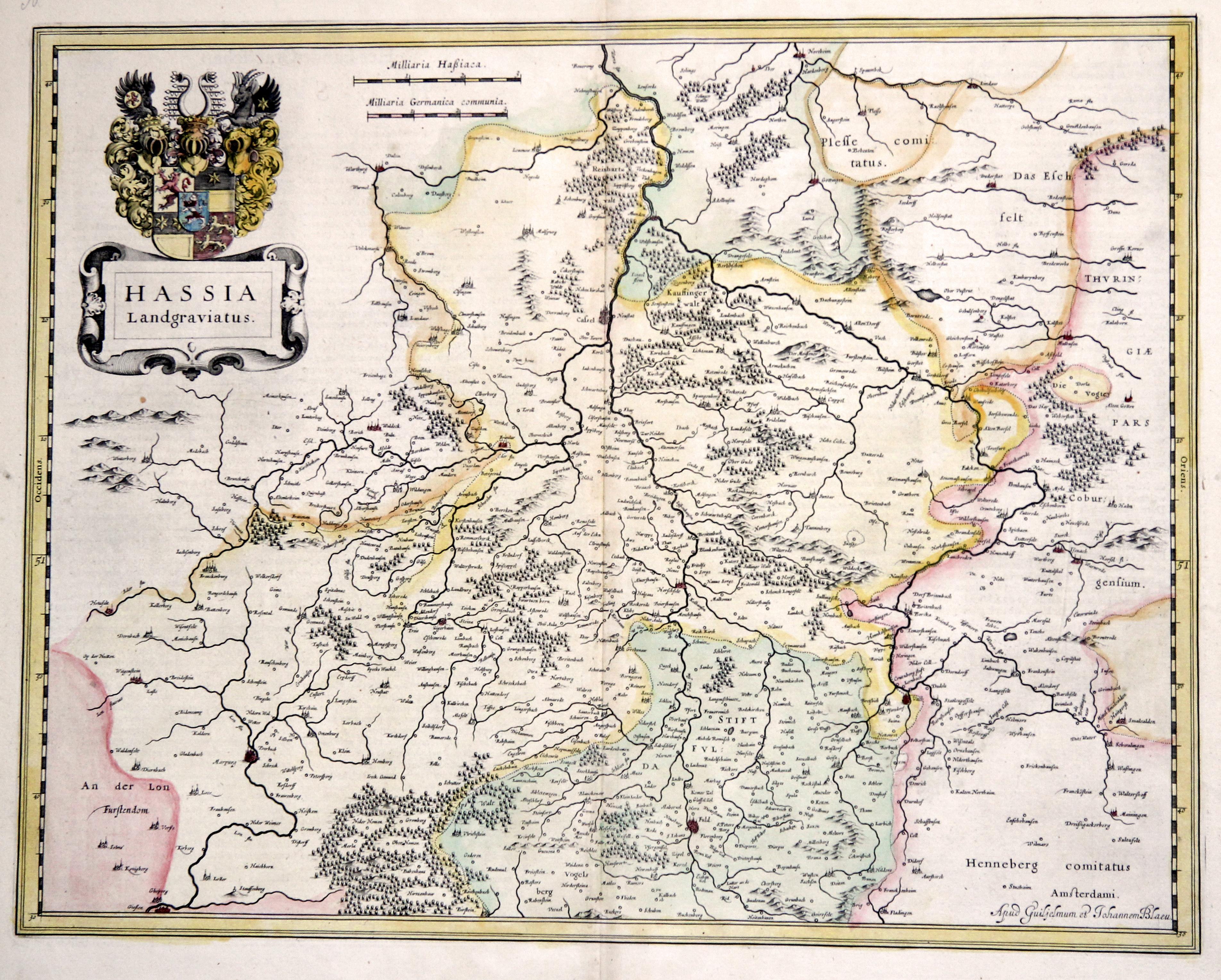 """Kst.- Karte, b. G. Blaeu, """"Hassia Landgraviatus"""".: Nordhessen:"""