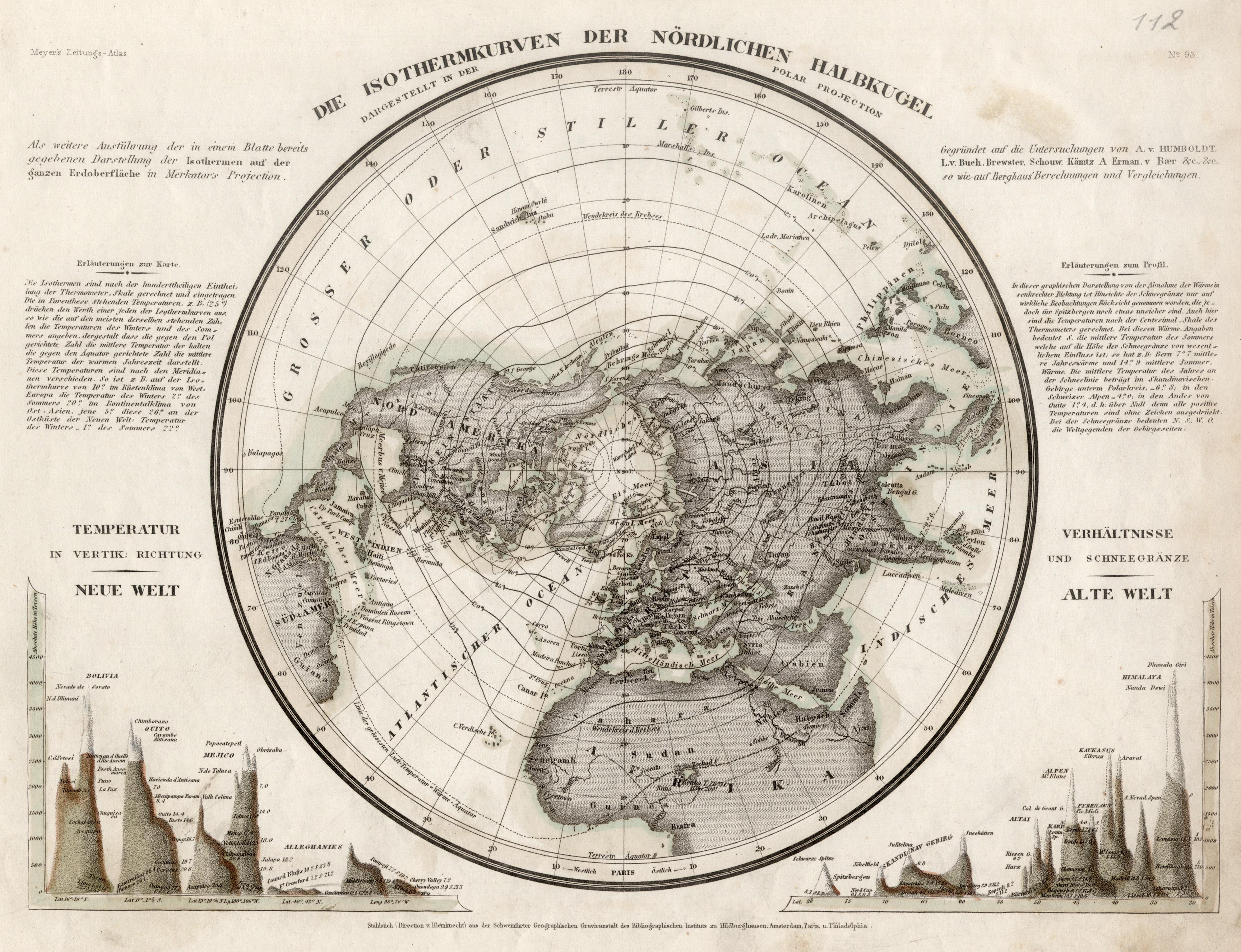 "Stst.- Karte b. B.I., ""Die Isothermkurven der: Weltkarte ( World"