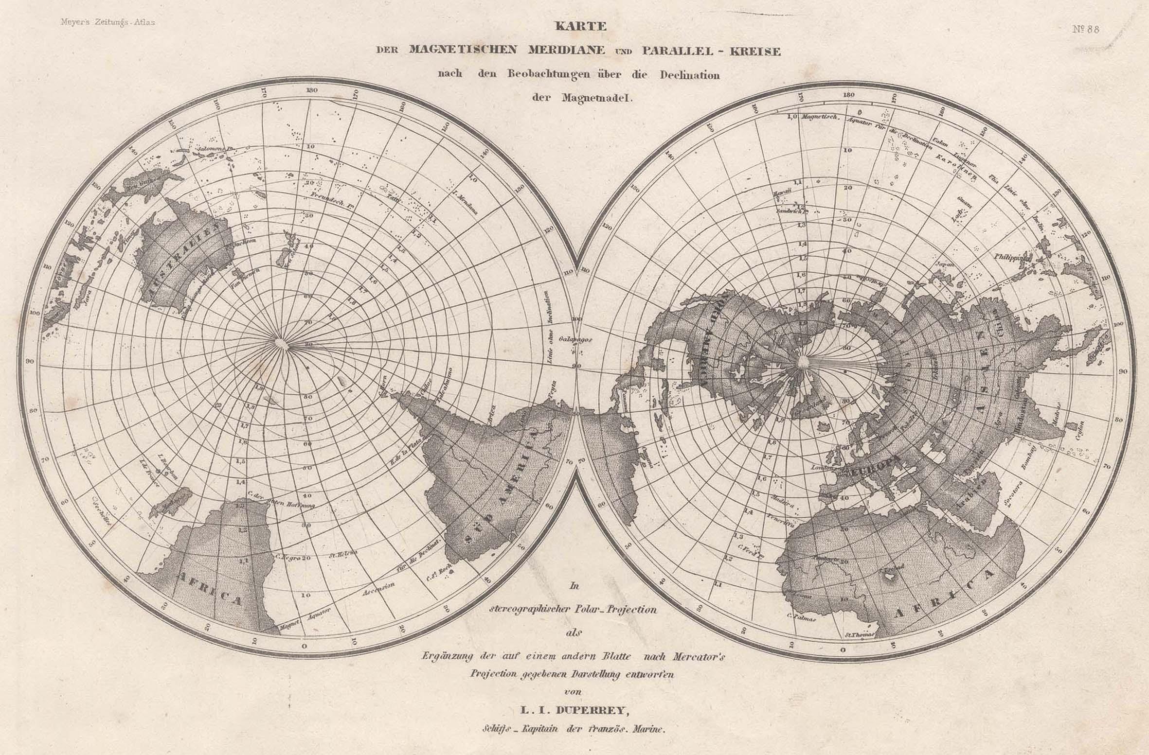 "Stst.- Karte n. Duperrey b. B.I., ""Karte: Weltkarte ( World"