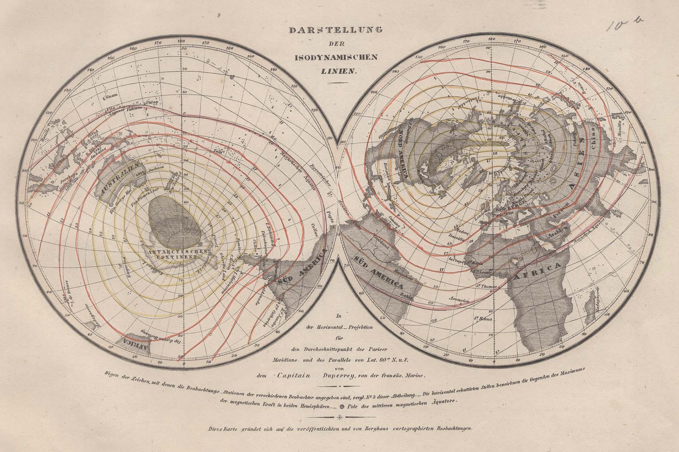 Stst.- Karte n. Duperrey b. B.I., Darstellung: Weltkarte ( World