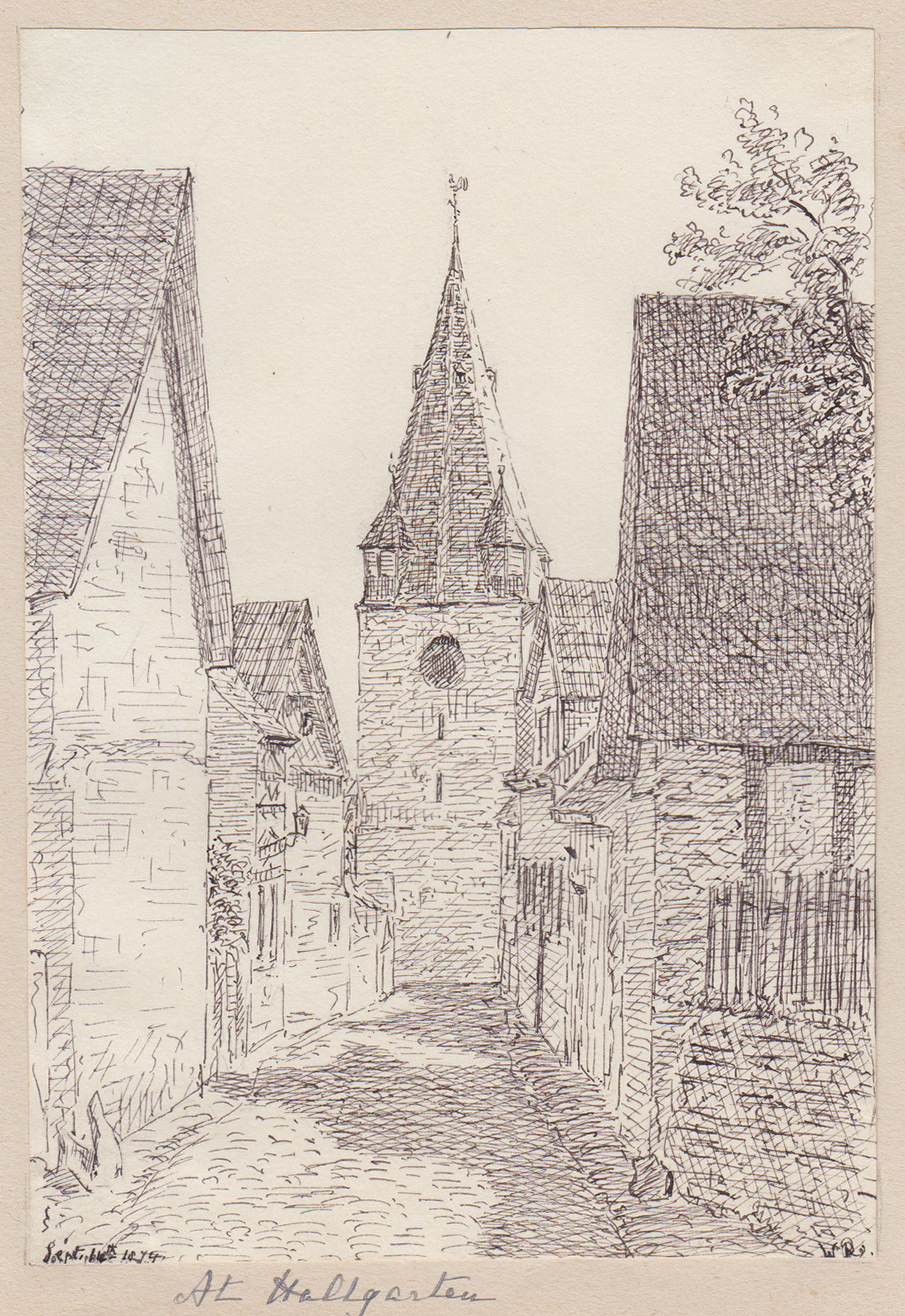 TA., Gasse mit Kirche.: Oestrich - Winkel: