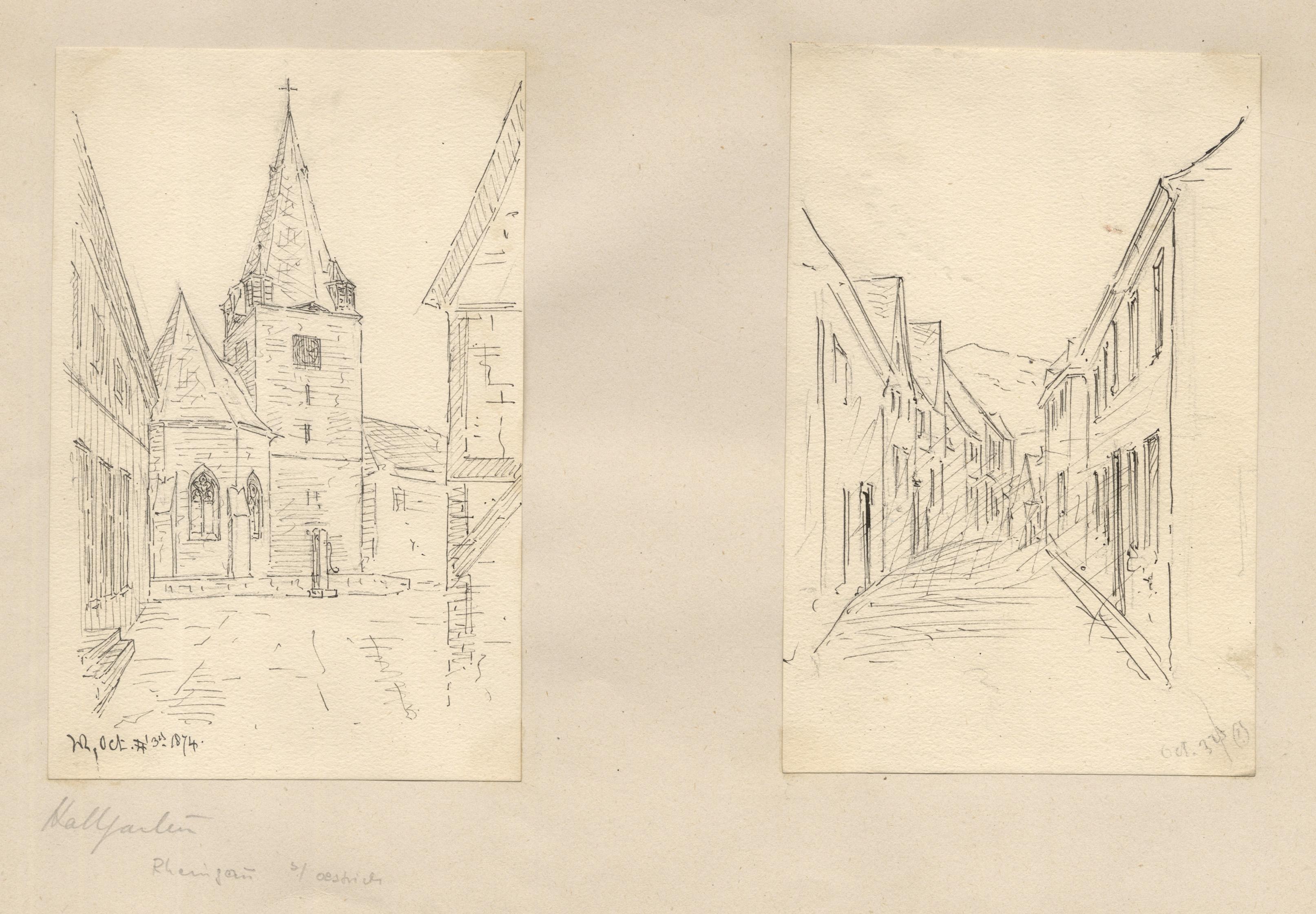 TA., Gasse mit Kirche und eine weitere: Oestrich - Winkel: