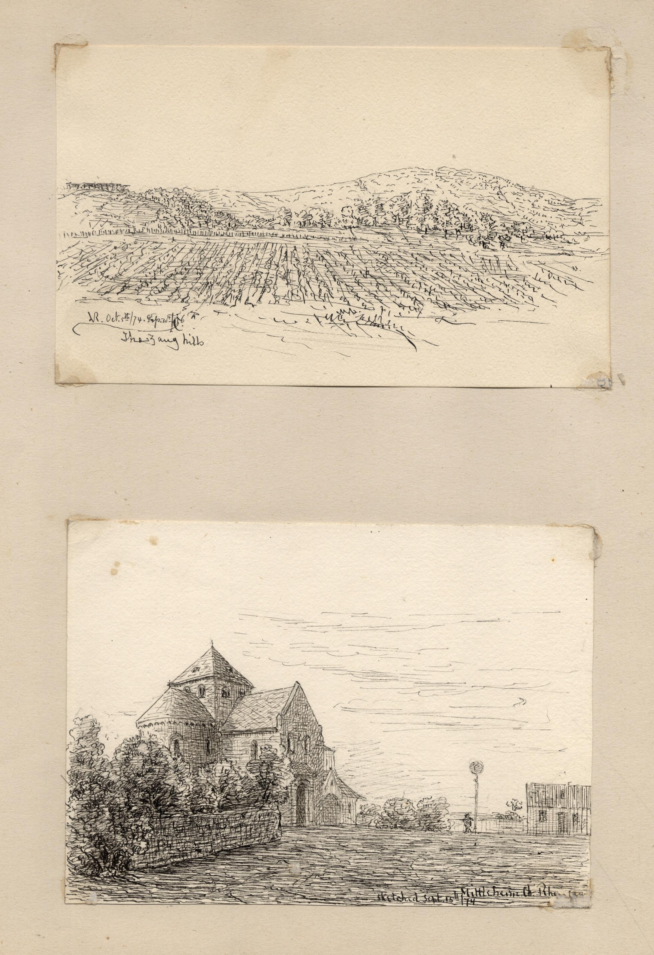 TA., Kirche mit Platz; Landschafts-Skizze aus der: Oestrich - Winkel: