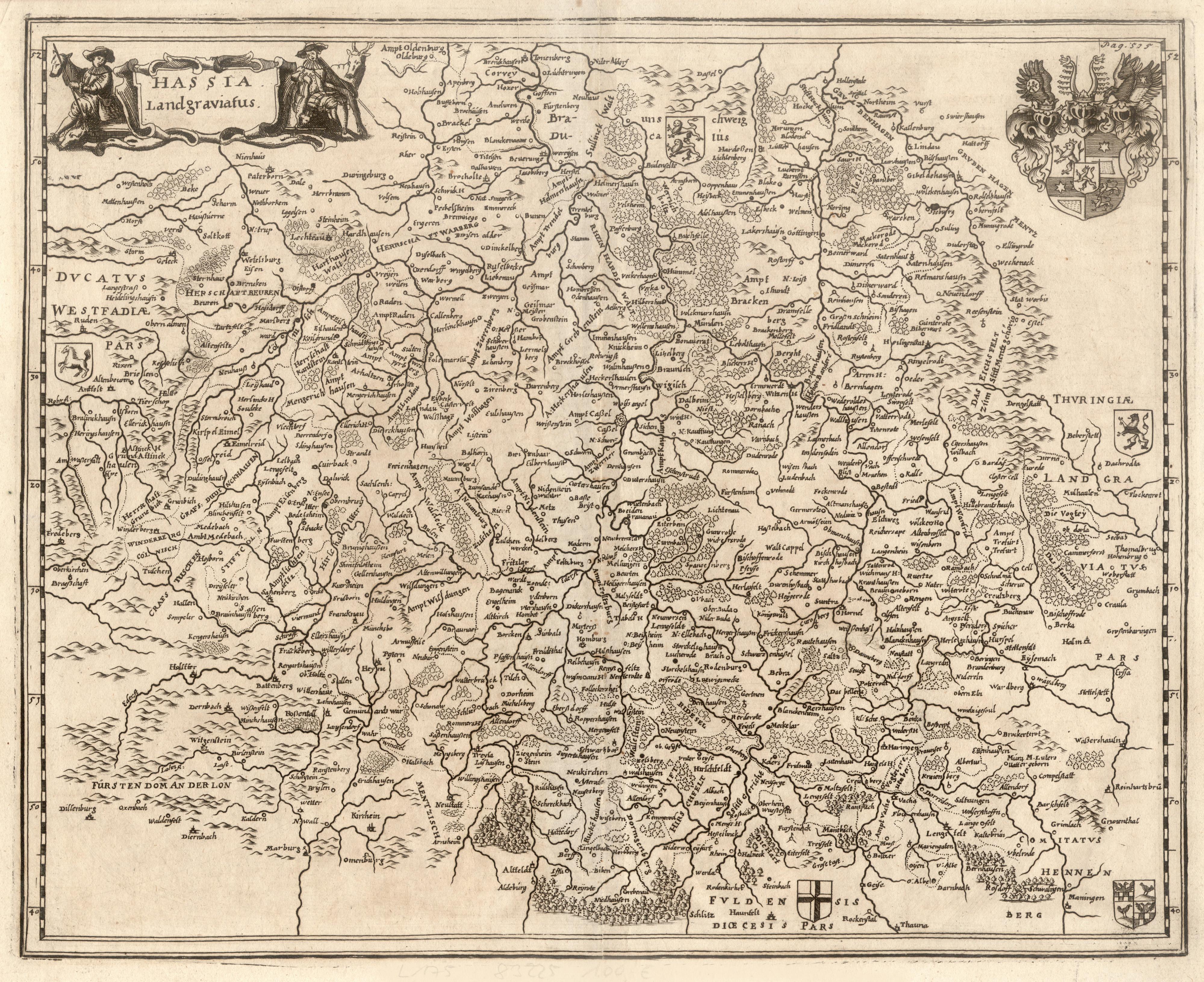 "Kst.- Karte, b. Johann Hoffmann, ""Hassia Landgraviatus"".: Nordhessen:"