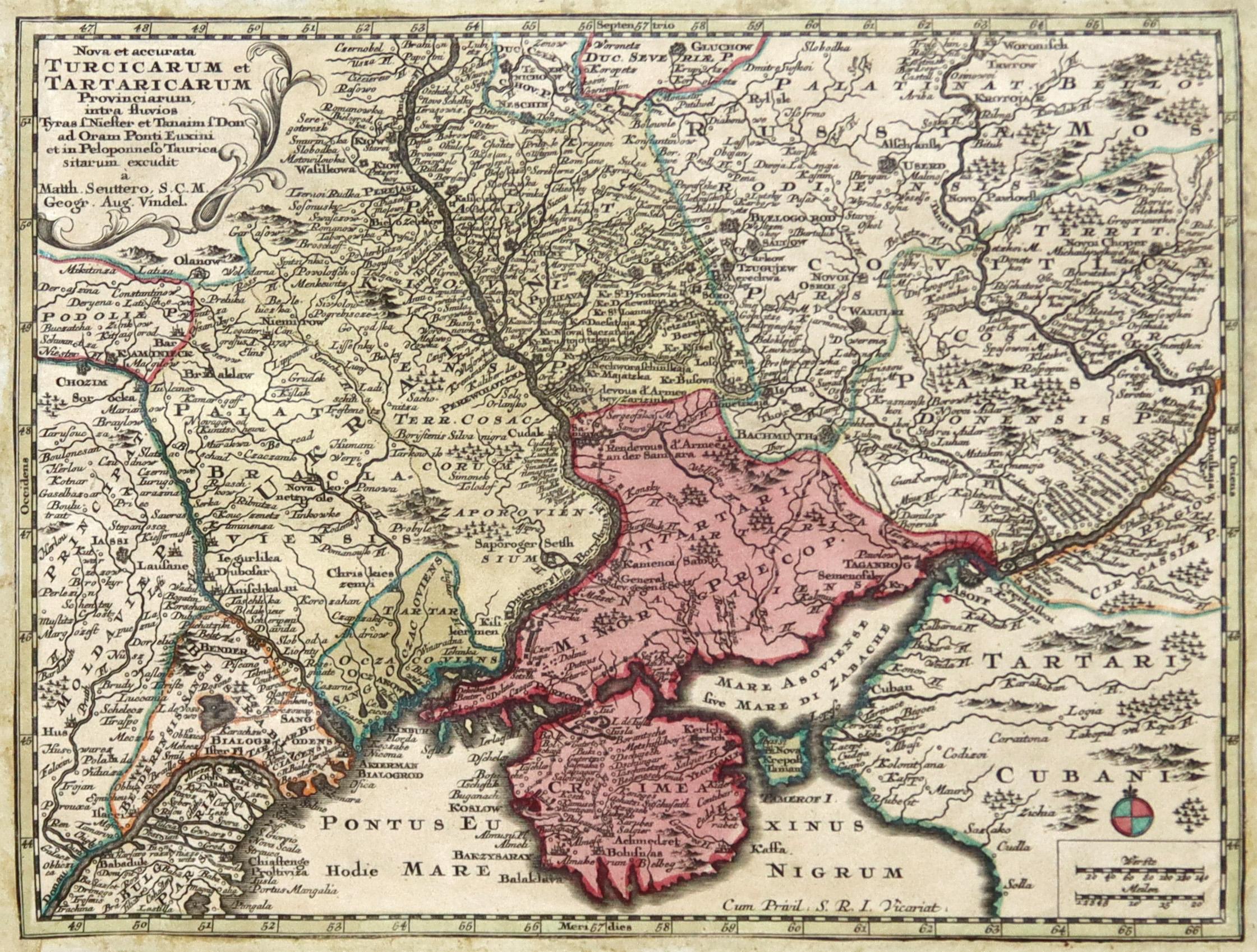 """Kst.- Karte, b. M. Seutter, """"Nova et: Ukraine:"""