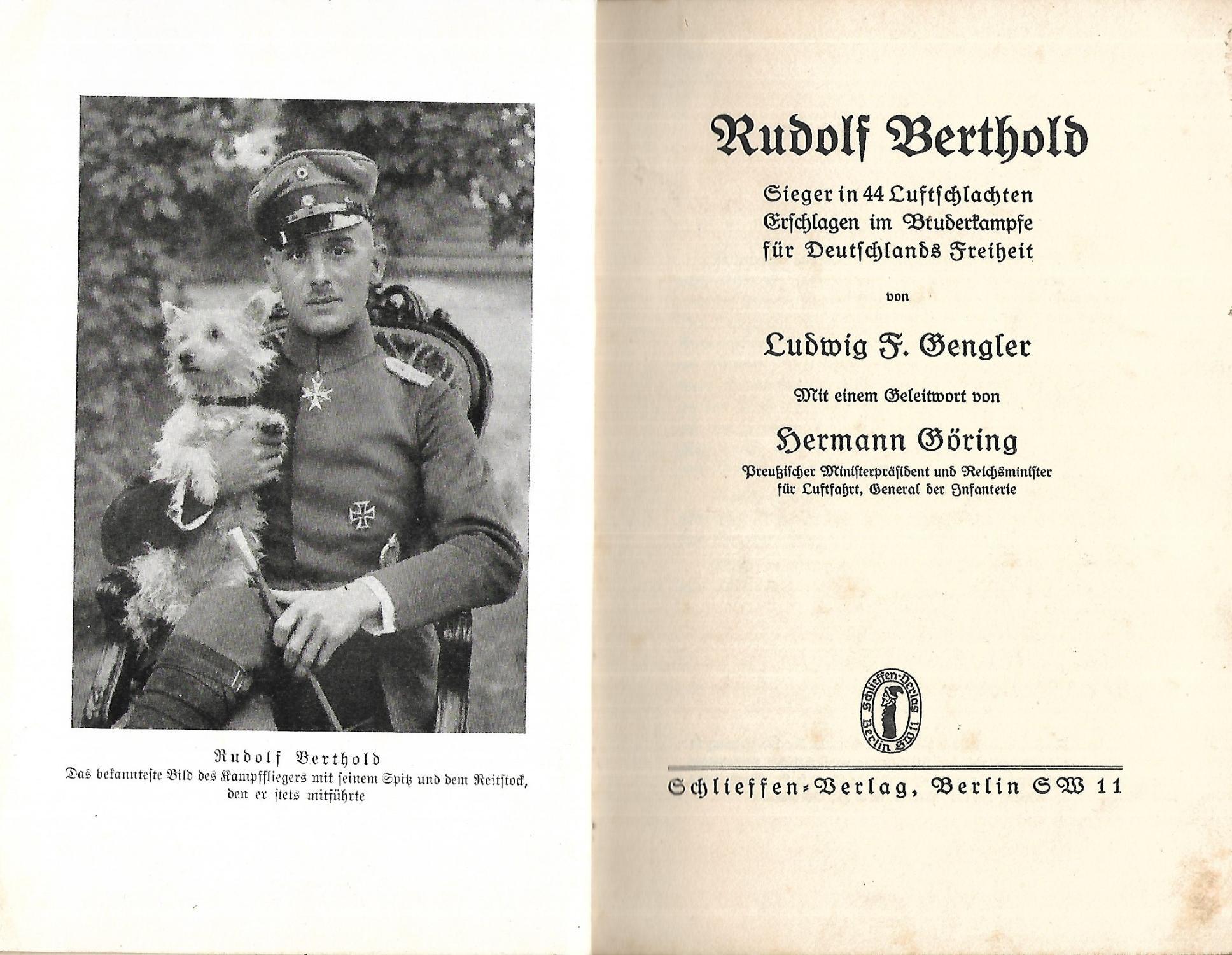 Rudolf Berthold. Sieger in 44 Luftschlachten. Erschlagen: GENGLER, Ludwig F.: