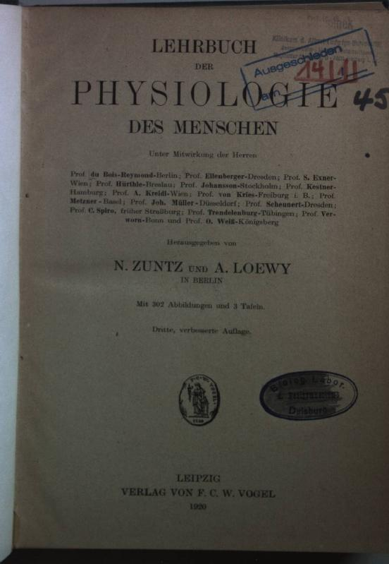 Lehrbuch der Physiologie des Menschen.: zuntz, N. und