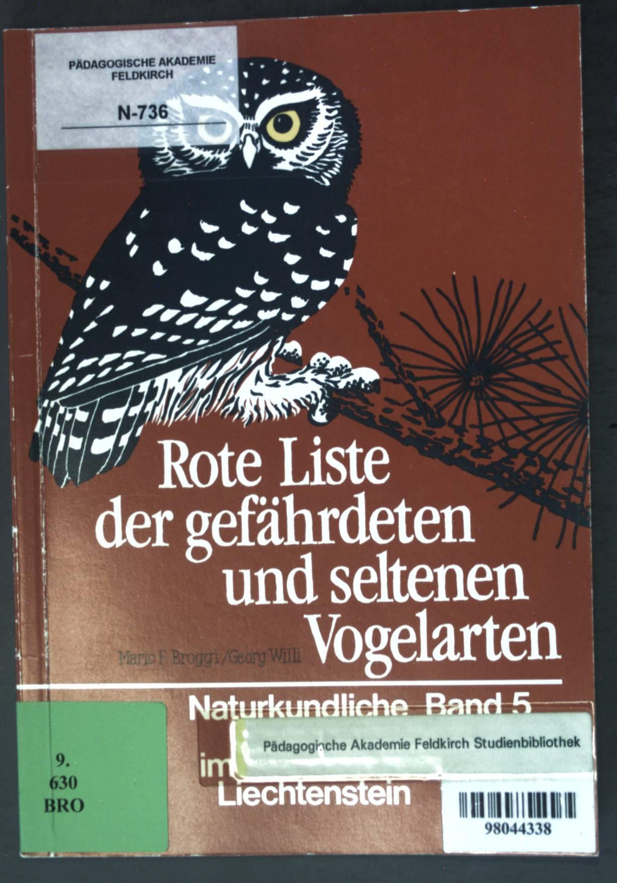 Rote Liste der gefährdeten und seltenen Vogelarten: Broggi, Mario F.
