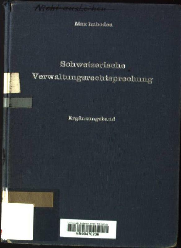 Schweizerische Verwaltungsrechtsprechung, Ergänzungsband: Imboden, Max: