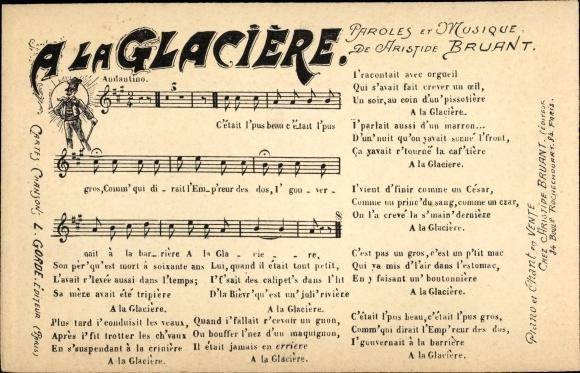 Lied Ansichtskarte / Postkarte A la Glaciere,
