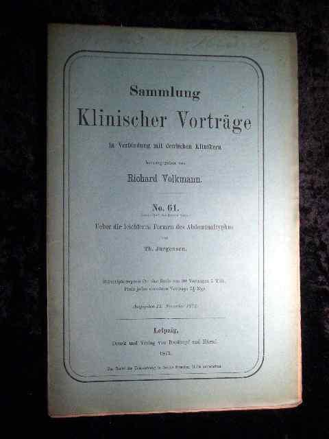 Jürgensen: Über die leichteren Formen des Abdominaltyphus.: Richard Volkmann (Hrsg.):