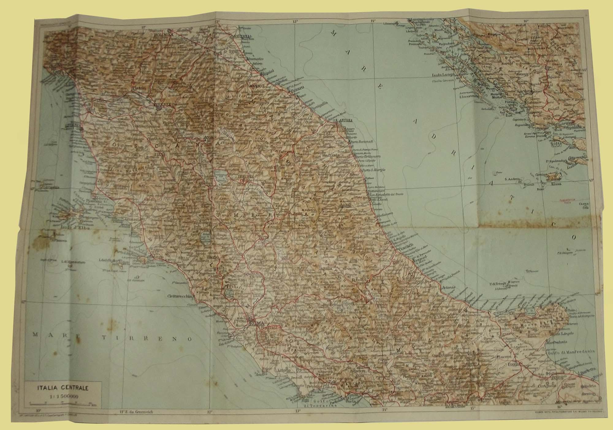 Cartina Italia Centrale E Meridionale.Italia Centrale Carta Geografica Mappa Studio Bibliografico Imprimatur