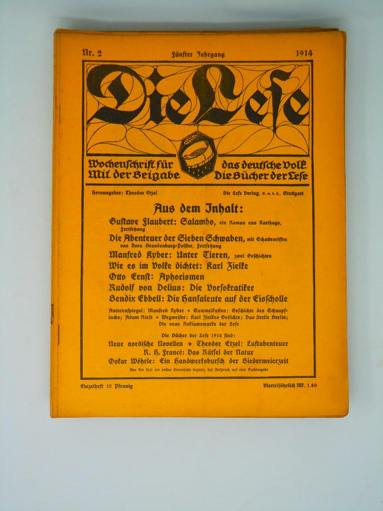 Die Lese - Wochenschrift für das deutsche: Etzel, Theodor; Muschner,