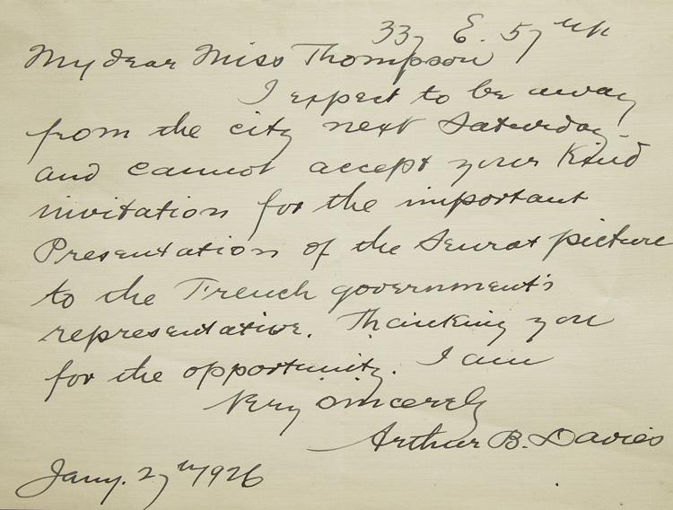 "Autograph Letter, signed (""Very sincerely Arthur B.: Seurat, Georges)(Quinn, John)"