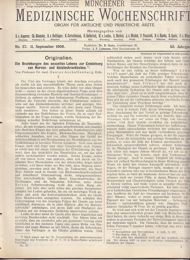 Die Beziehungen des sexuellen Lebens zur Entstehung: Aschaffenburg, Gustav.