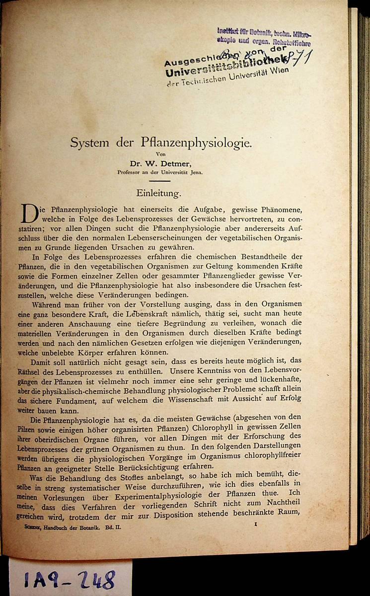 System der Planzenphysiologie. (= Aus: Schenk, A.:(Hrsg): Detmer, W[ilhelm]:
