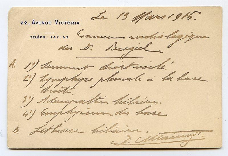 Eigenh. Postkarte mit U. und drei Visitenkarten: Maingot, Georges, Radiologe
