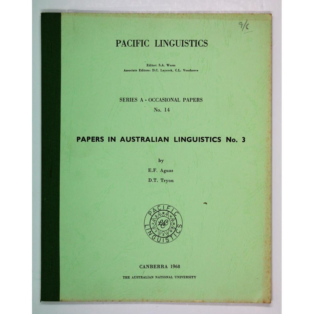 Papers in Australian Linguistics No. 3.: Aguas, E. F.