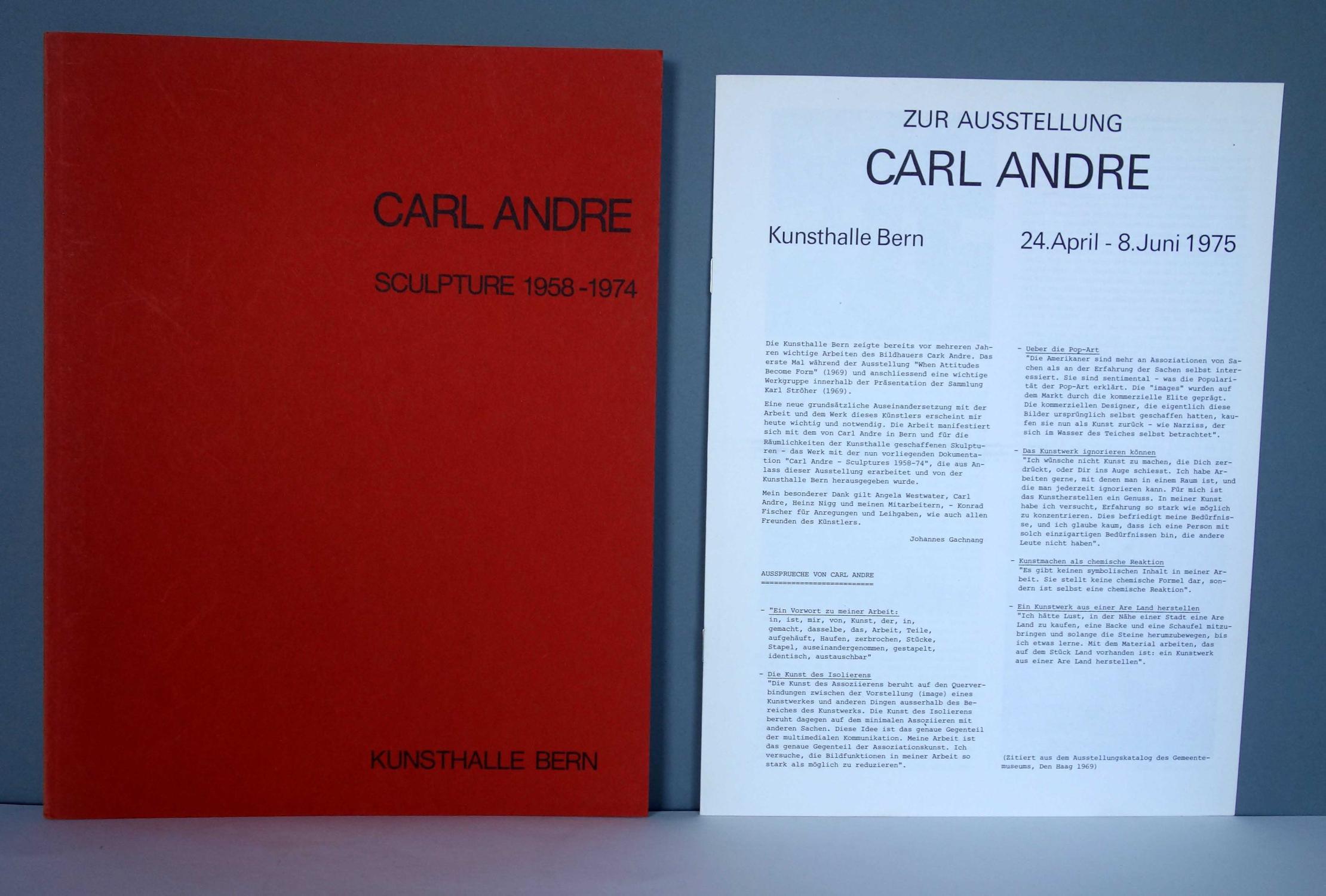 Sculpture 1958 - 1974.: Carl Andre