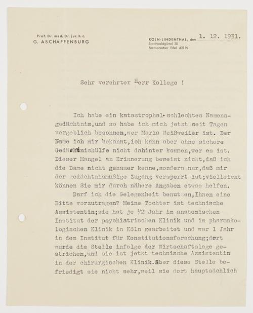 LS - Maschinenschriftlicher Brief mit eigenhändiger Unterschrift.: Aschaffenburg, Gustav -