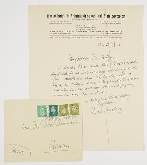ALS - Eigenhändiger Brief mit Unterschrift.: Aschaffenburg, Gustav -