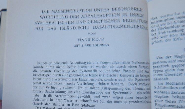 die massen eruption unter besonderer würdigung der: Reck, Hans