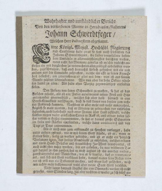 Wahrhafter und umständlicher Bericht Von den verstorbenen: Hornhausen - Schwerdtfeger,