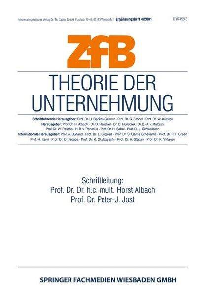 Theorie der Unternehmung. (=Zeitschrift für Betriebswirtschaft /: Albach, Horst und