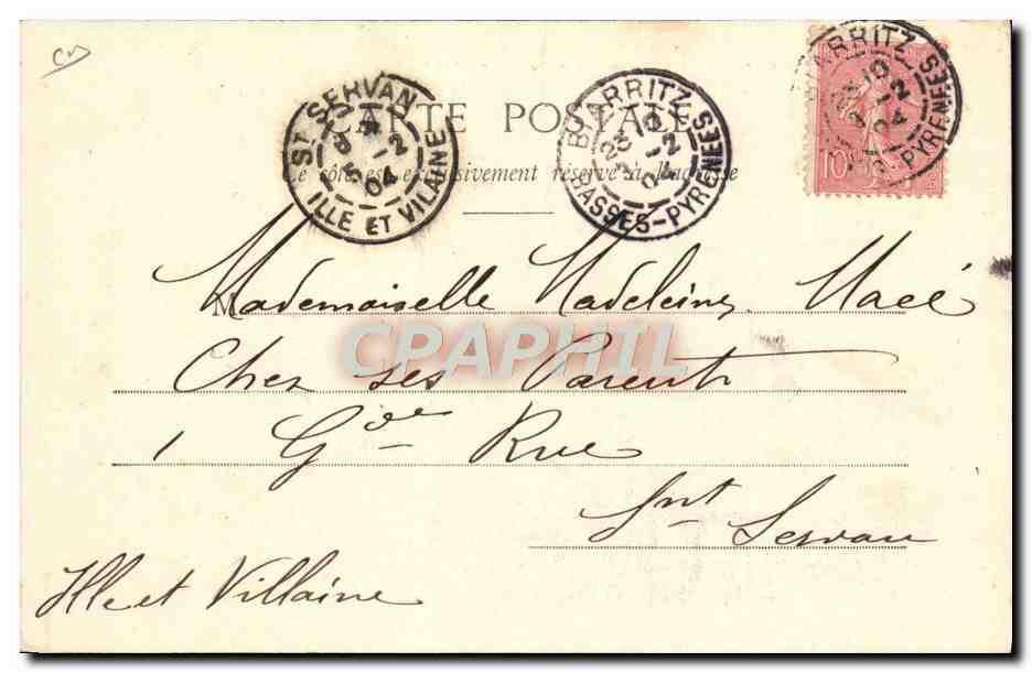 Carte Postale Ancienne Folklore Pays basque Maison et attelage basque Boeufs: Manuscript / Paper ...
