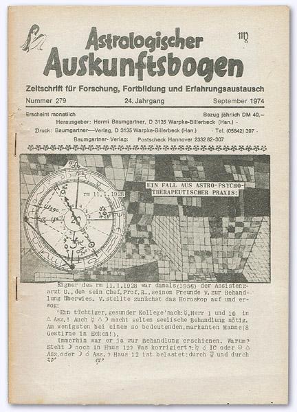 Astrologischer Auskunftsbogen. 24. Jhg. 1974, Nummer 279: Baumgartner, Hermi (Hrsg.):