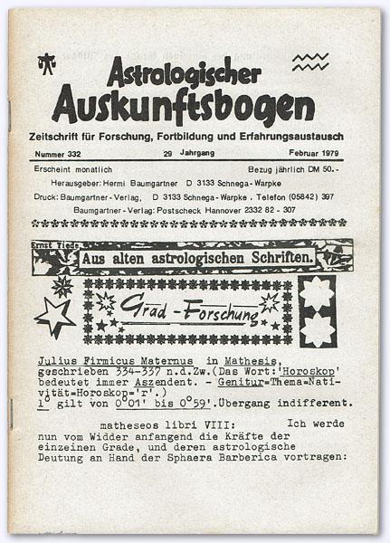 Astrologischer Auskunftsbogen. 29. Jhg. 1979, Nummer 332: Baumgartner, Hermi (Hrsg.):