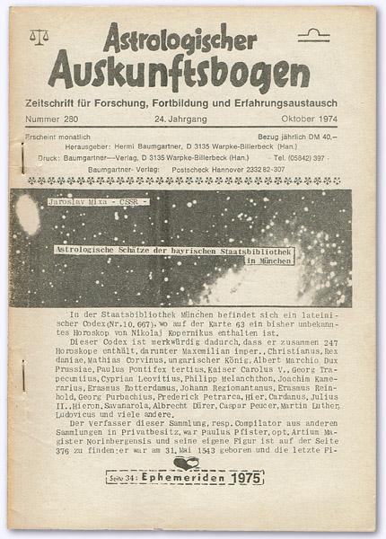 Astrologischer Auskunftsbogen. 24. Jhg. 1974, Nummer 280: Baumgartner, Hermi (Hrsg.):