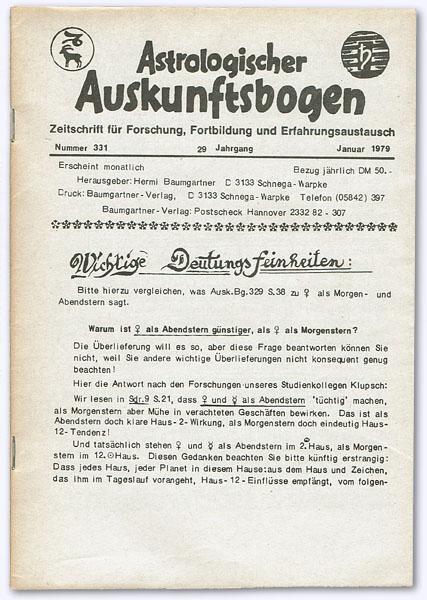 Astrologischer Auskunftsbogen. 29. Jhg. 1979, Nummer 331: Baumgartner, Hermi (Hrsg.):