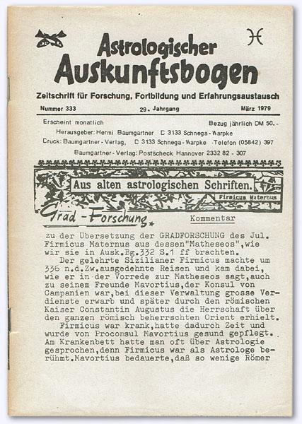 Astrologischer Auskunftsbogen. 29. Jhg. 1979, Nummer 333: Baumgartner, Hermi (Hrsg.):