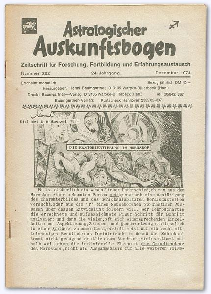 Astrologischer Auskunftsbogen. 24. Jhg. 1974, Nummer 282: Baumgartner, Hermi (Hrsg.):