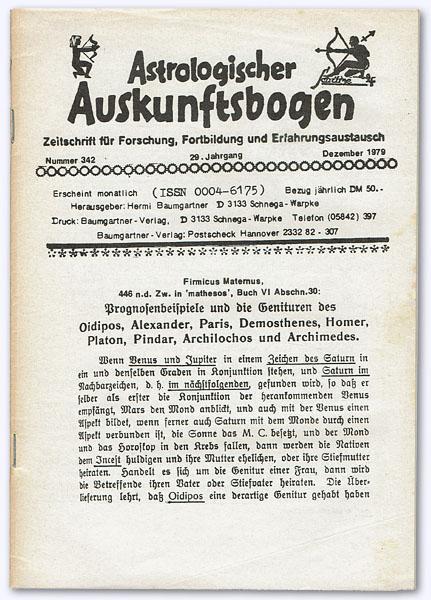 Astrologischer Auskunftsbogen. 29. Jhg. 1979, Nummer 342: Baumgartner, Hermi (Hrsg.):
