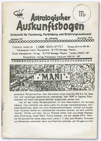 Astrologischer Auskunftsbogen. 29. Jhg. 1979, Nummer 341: Baumgartner, Hermi (Hrsg.):