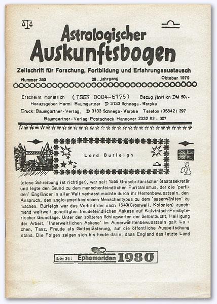 Astrologischer Auskunftsbogen. 29. Jhg. 1979, Nummer 340: Baumgartner, Hermi (Hrsg.):