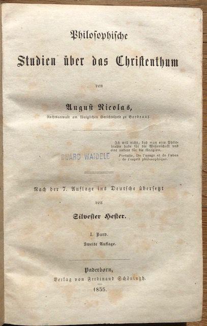 Philosophische Studien über das Christenthum.: Nicolas, August.