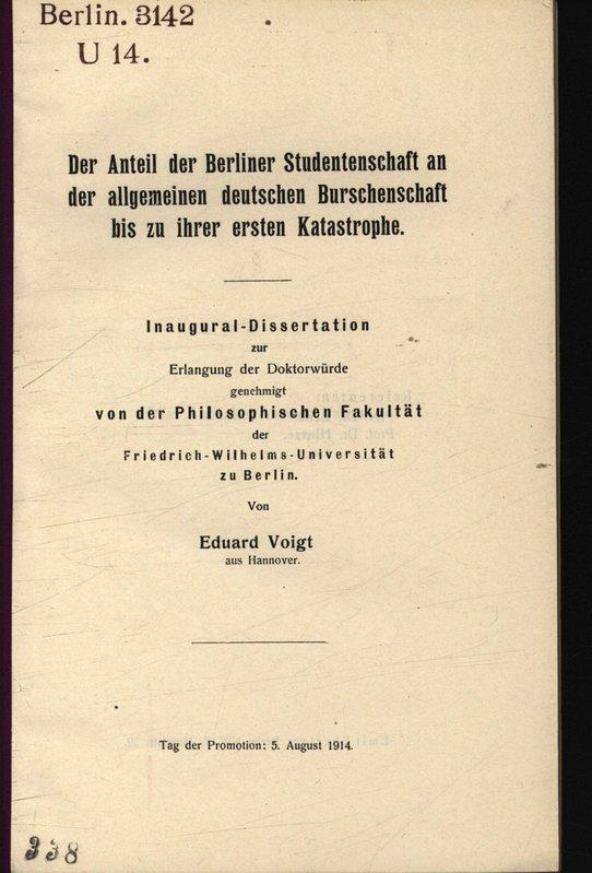 Der Anteil der Berliner Studentenschaft an der: Voigt, Eduard: