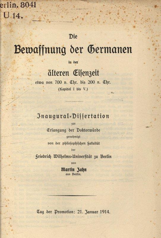 Die Bewaffnung der Germanen in der älteren: Jahn, Martin: