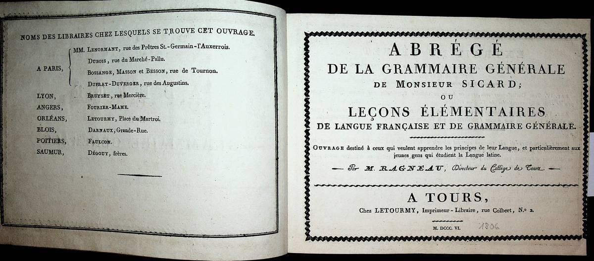 Abre ge de la Grammaire ge ne: Sicard, Roch-Ambroise Cucurron: