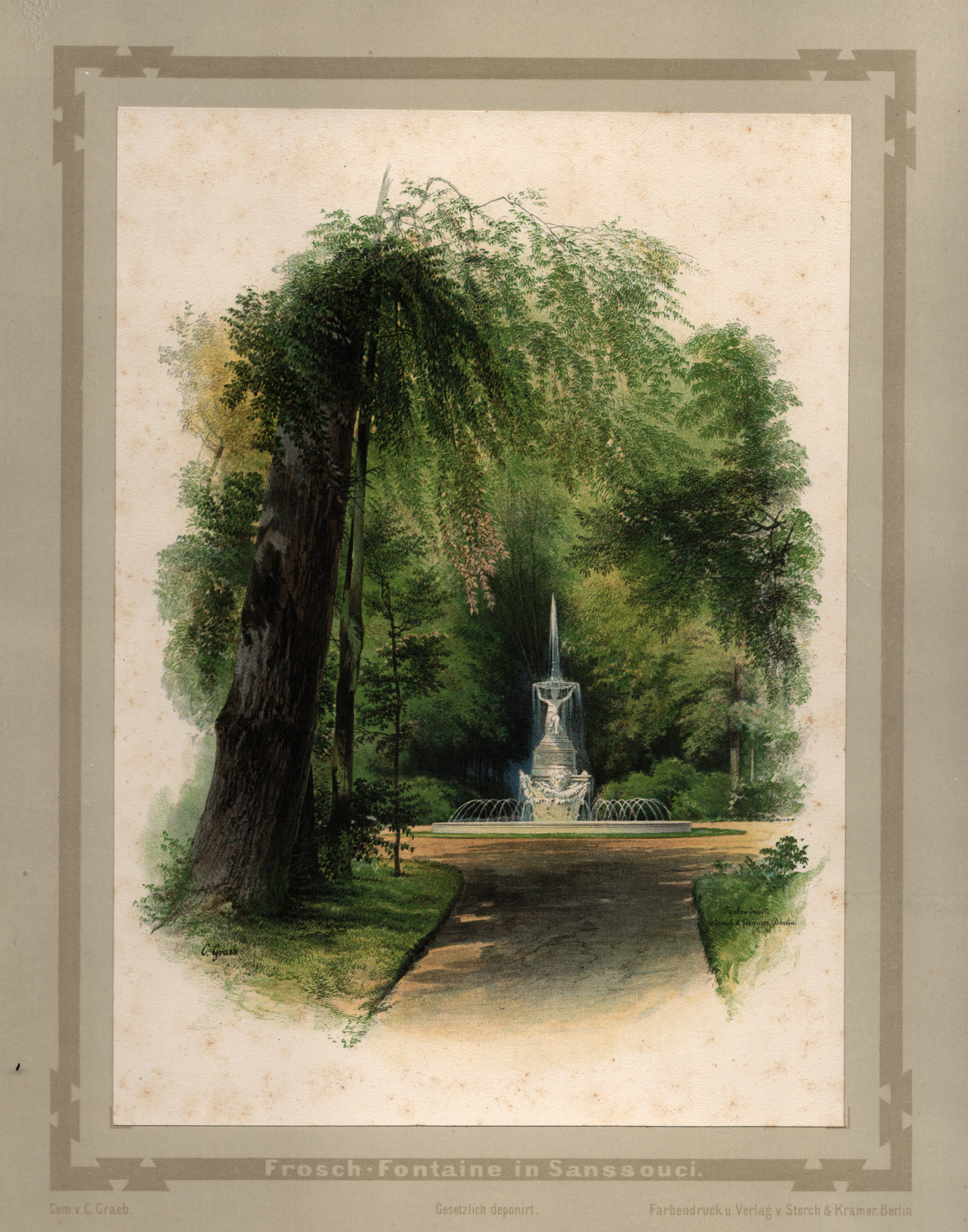 """Park Sanssouci, """"Frosch - Fontaine in Sanssouci"""".: Potsdam - Park"""