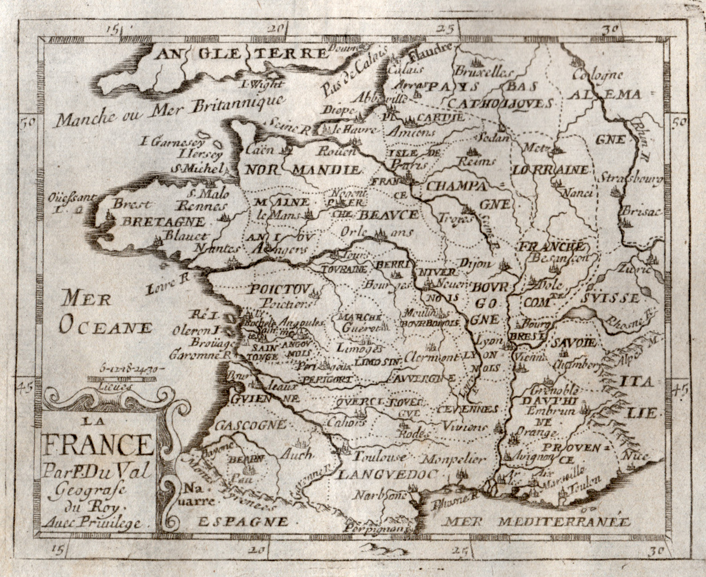 "Kst.- Karte, bei Pierre Duval, ""La France"".: Frankreich ( France"