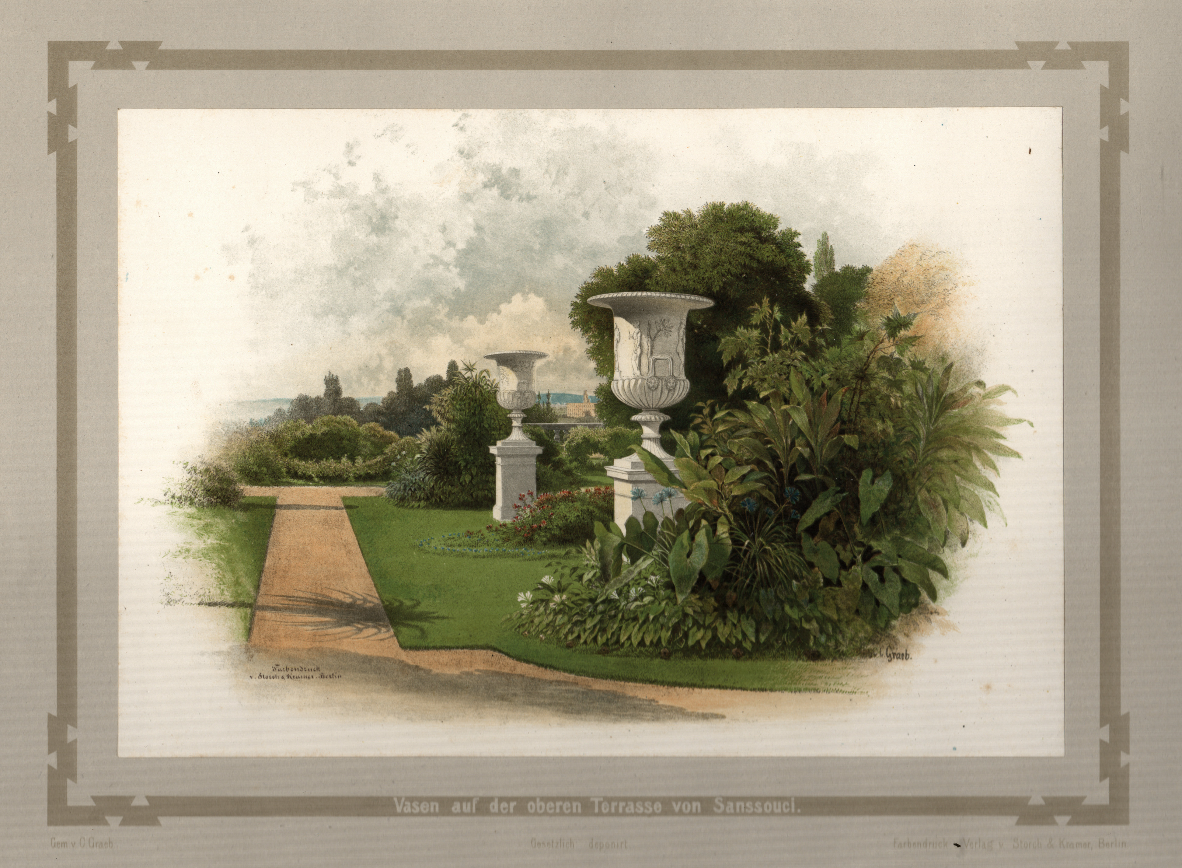 """Gartenseite, """"Vasen auf der oberen Terrasse von: Potsdam - Schloss"""