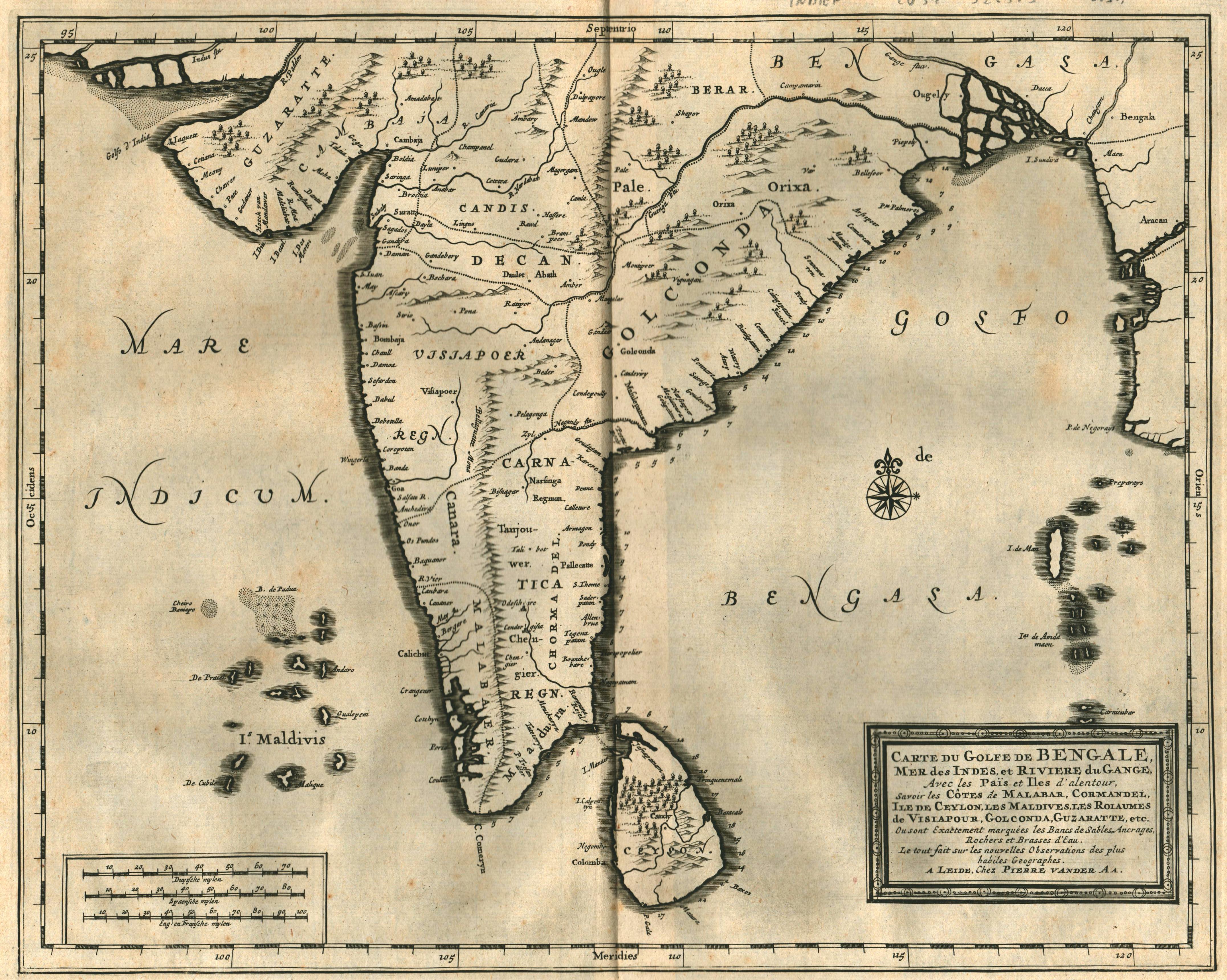 """Kst.- Karte, aus Mandelslo, """"Voyages . """": Indien ( India"""