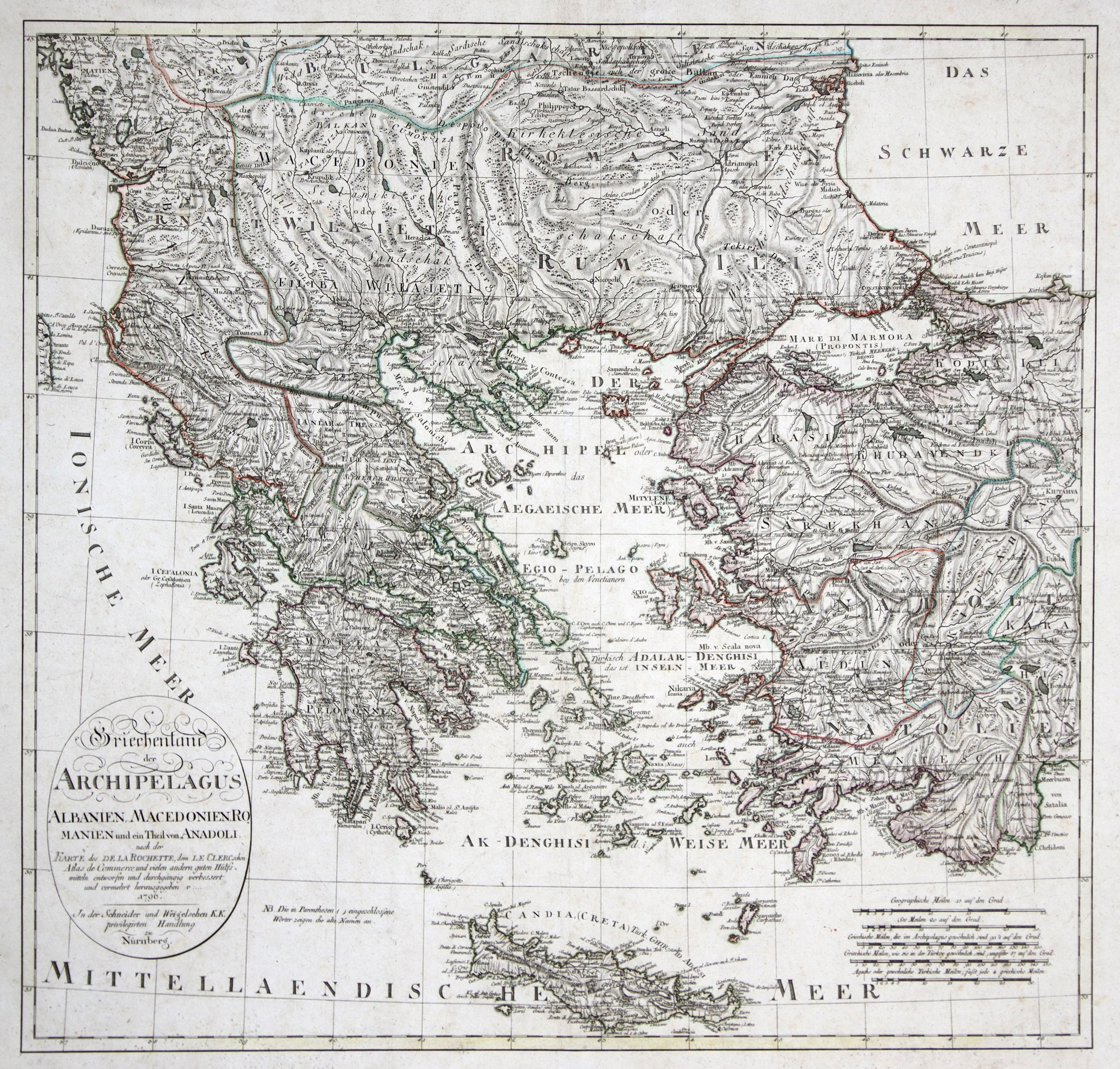 Kst.- Karte, n. La Rochette, Le Clerc: Griechenland ( Greece